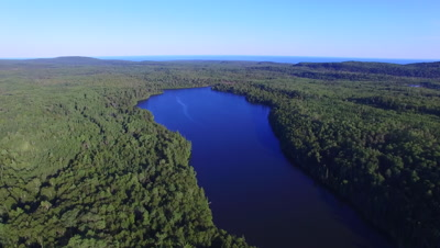 Lake Surrounded By Boreal Forest, Lake Superior in Far BG, Slow Ascent