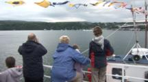Whale Watchers On Boat, Watch Seaplane Take Off. Tobermory Harbour.Mull. Uk. 22/07/08