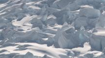 Ice Shapes. Track Past Snow Covered Shapes In The Ice. Antarctica