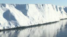 Scenic Tabular Iceberg With Icicles. Pull Out To Wider.  Antarctic Sound