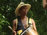 Carnival Dancers On Stilts, Portraits Of Samba Drummer. Havana Cuba