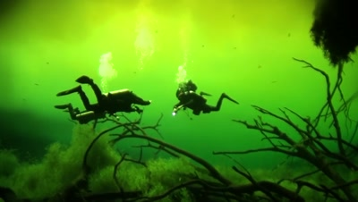 Cave Diving Stock Footage