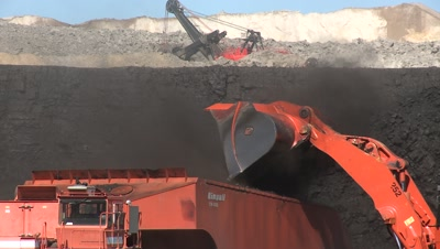 Heavy Equipment Works In Coal Mine