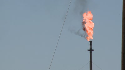 Gas Vent Burns At Oil Refinery