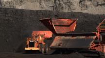 Heavy Equipment Works In Coal Mine