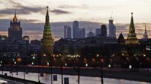 Moscow, Russia, Night View On Kremlin, City Comlex And Building Of The Ministry Of Internal Affairs. The Light Goes From Dusk Into The Night. Time Lapse.