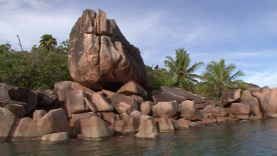 Travel Past Curieuse Island Rock Formations, View From Boat