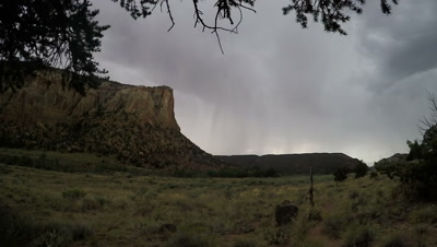 Rain storm in Capitol Reef National Park with Lightning