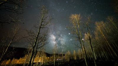 Night time lapse of galaxy moving through the sky