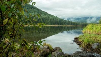 Trillium Lake with Mt. Hood behind the Fog