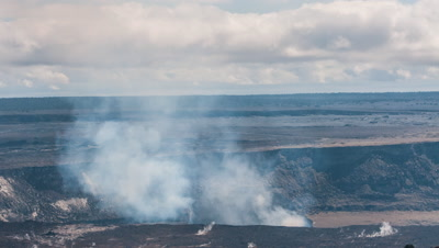 Caldera in Volcano National Park Hawaii in 4K