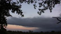 Serengeti Plains At Sunrise With The Moon